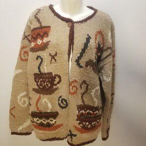 NOMADIC TRADERS Handknit Coffee/Tea Sweater